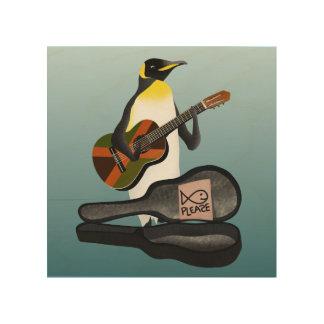 Impression Sur Bois Jouer de la musique de pingouin