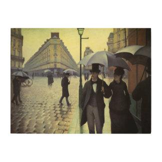 Impression Sur Bois Jour pluvieux de rue de Paris par Gustave