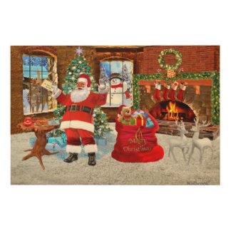 Impression Sur Bois Joyeux Noël de Père Noël