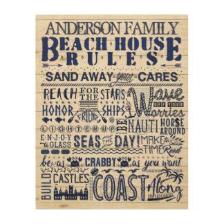 Impression Sur Bois La Chambre de plage ordonne la famille faite sur