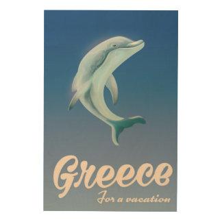 Impression Sur Bois La Grèce pour une affiche de voyage de dauphin de