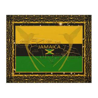 Impression Sur Bois La Jamaïque colore le mur en bois Art2 de colibri