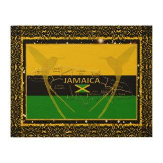 Impression Sur Bois La Jamaïque colore le mur en bois Art3 de colibri