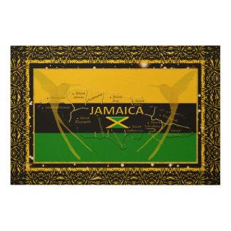 Impression Sur Bois La Jamaïque colore le mur en bois Art4 de colibri