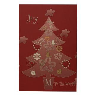 Impression Sur Bois La joie à l'arbre de Noël du monde ajoutent le
