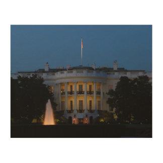Impression Sur Bois La Maison Blanche de Noël la nuit dans le