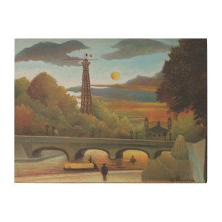Impression Sur Bois La Seine et Tour Eiffel au coucher du soleil par