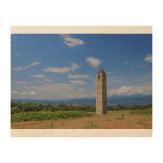 Impression Sur Bois La tour de cloche médiévale solitaire sur l'art en
