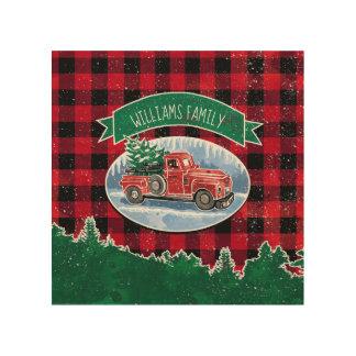 Impression Sur Bois Le camion vintage de Noël ajoutent le nom