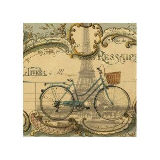 Impression Sur Bois le cru chic de voyageur va à vélo Tour Eiffel de
