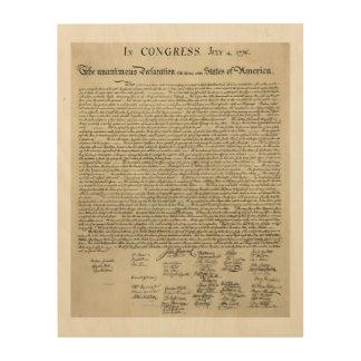 Impression Sur Bois Le document de déclaration d'indépendance