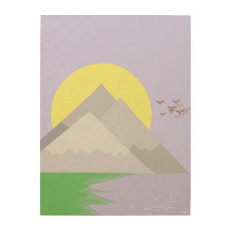 Impression Sur Bois Les montagnes et le lac, avec des arbres