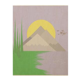 Impression Sur Bois Les montagnes et le lac, avec des arbres, copie du