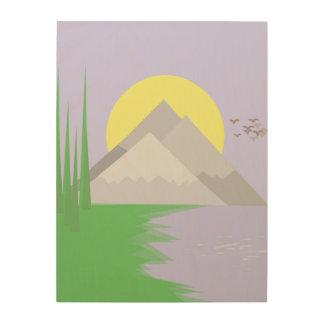 Impression Sur Bois Les montagnes et le lac, avec des arbres impriment