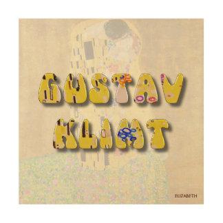 Impression Sur Bois Lettres de Gustav Klimt sur son célèbre le baiser