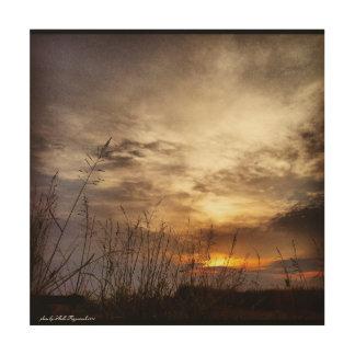 Impression Sur Bois Lever de soleil nuageux de pays avec l'herbe