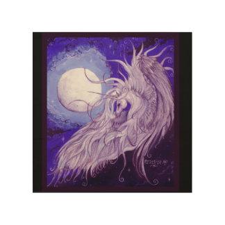 Impression Sur Bois Licorne à ailes devant la lune