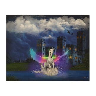 Impression Sur Bois Licorne avec des ailes d'arc-en-ciel