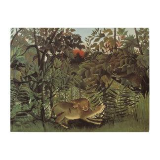 Impression Sur Bois Lion affamé par Henri Rousseau, animal sauvage