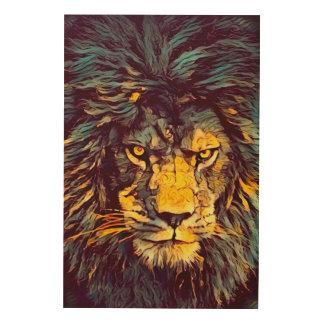 Impression Sur Bois Lion d'art acrylique de faune de Dieu