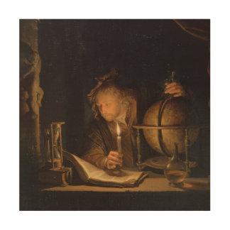 Impression Sur Bois Livres d'étude par lueur d'une bougie