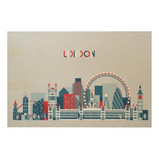 Impression Sur Bois Londres, Angleterre horizon rouge, blanc et bleu