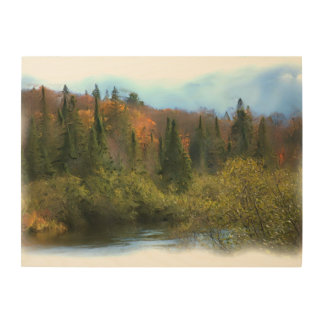 Impression Sur Bois Lueur d'automne de paysage d'arbres