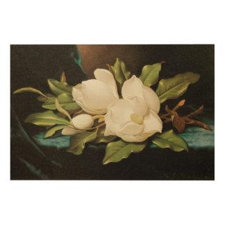 Impression Sur Bois Magnolias géantes sur un tissu bleu de velours par