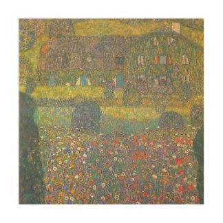 Impression Sur Bois Maison de campagne par l'Attersee par Gustav Klimt