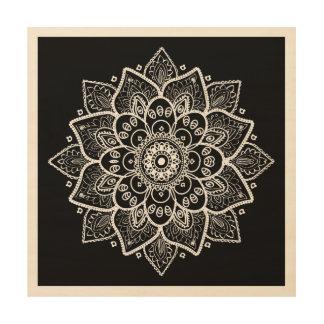 Impression Sur Bois Mandala blanc élégant fleuri sur le noir
