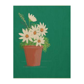 Impression Sur Bois Marguerites blanches dans la peinture d'aquarelle