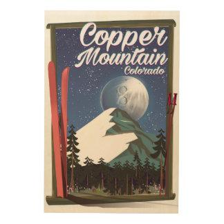 Impression Sur Bois Montagne d'en cuivre d'affiche de voyage du