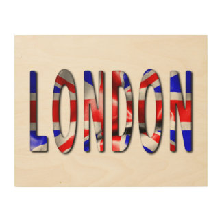 Impression Sur Bois Mot de Londres avec l'art en bois de mur de