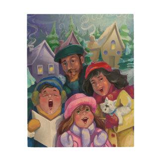 Impression Sur Bois Noël Caroling de famille