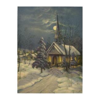 Impression Sur Bois Noël vintage, église d'hiver dans la neige avec la
