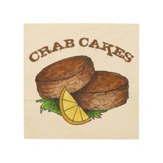 Impression Sur Bois Nourriture épicée de fruits de mer de Crabcakes de