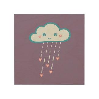 Impression Sur Bois Nuage de pluie bleu heureux pleuvant les coeurs