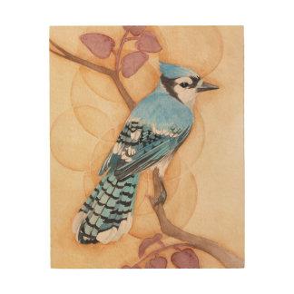 Impression Sur Bois Oiseau bleu sur le bois