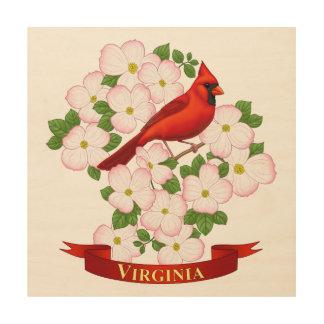 Impression Sur Bois Oiseau d'état de la Virginie et fleur cardinaux de