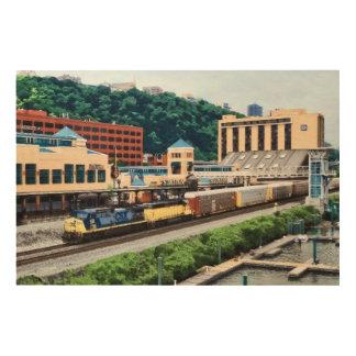 Impression Sur Bois PA de Pittsburgh - Train allant par le carré de