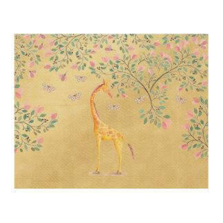 Impression Sur Bois Papillons et fleur de girafe d'aquarelle