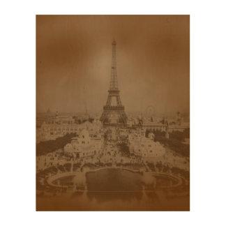 Impression Sur Bois Paris vintage et Tour Eiffel