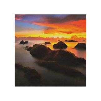 Impression Sur Bois Paysage de marine au lever de soleil