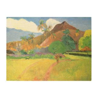 Impression Sur Bois Paysage de Tahitian, montagnes Tahiti, Paul
