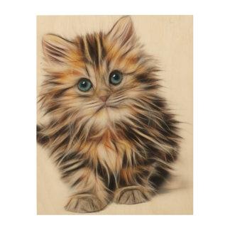 Impression Sur Bois Peinture adorable de chaton