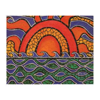 Impression Sur Bois Peinture colorée d'océan d'abrégé sur coucher du