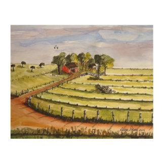 Impression Sur Bois Peinture fonctionnante de ferme