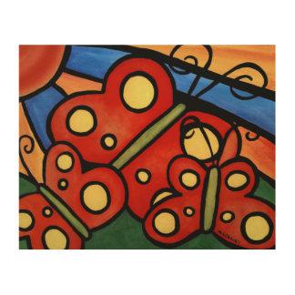 Impression Sur Bois Peinture lunatique de papillons