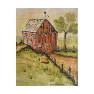 Impression Sur Bois Peinture rouge de grange