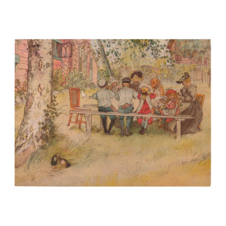 Impression Sur Bois Petit déjeuner sous le grand bouleau par Carl